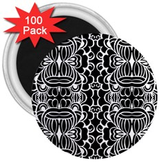 Psychedelic Pattern Flower Black 3  Magnets (100 Pack) by Mariart