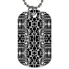 Psychedelic Pattern Flower Black Dog Tag (two Sides)