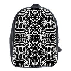 Psychedelic Pattern Flower Black School Bag (large) by Mariart