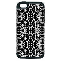 Psychedelic Pattern Flower Black Apple Iphone 5 Hardshell Case (pc+silicone) by Mariart