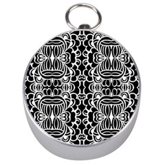 Psychedelic Pattern Flower Black Silver Compasses by Mariart