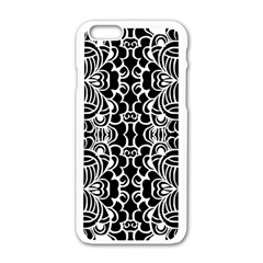 Psychedelic Pattern Flower Black Apple Iphone 6/6s White Enamel Case by Mariart
