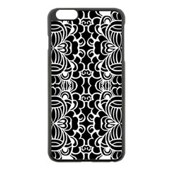 Psychedelic Pattern Flower Black Apple Iphone 6 Plus/6s Plus Black Enamel Case by Mariart