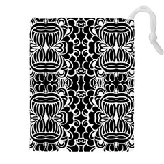 Psychedelic Pattern Flower Black Drawstring Pouches (xxl) by Mariart