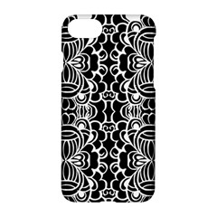 Psychedelic Pattern Flower Black Apple Iphone 7 Hardshell Case by Mariart