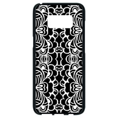 Psychedelic Pattern Flower Black Samsung Galaxy S8 Black Seamless Case by Mariart