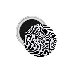 Psychedelic Zebra Black White Line 1 75  Magnets by Mariart