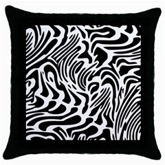 Psychedelic Zebra Black White Line Throw Pillow Case (black) by Mariart