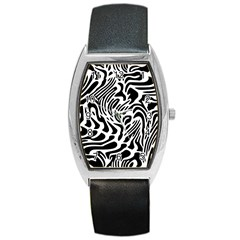 Psychedelic Zebra Black White Line Barrel Style Metal Watch by Mariart