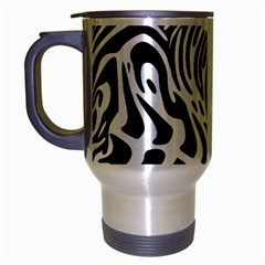 Psychedelic Zebra Black White Line Travel Mug (silver Gray)