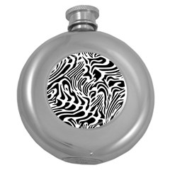 Psychedelic Zebra Black White Line Round Hip Flask (5 Oz) by Mariart