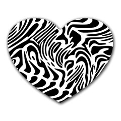 Psychedelic Zebra Black White Line Heart Mousepads by Mariart
