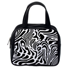 Psychedelic Zebra Black White Line Classic Handbags (one Side) by Mariart