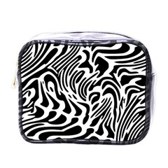 Psychedelic Zebra Black White Line Mini Toiletries Bags by Mariart
