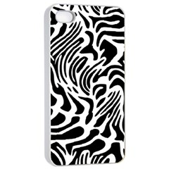 Psychedelic Zebra Black White Line Apple Iphone 4/4s Seamless Case (white)