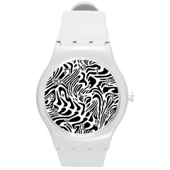 Psychedelic Zebra Black White Line Round Plastic Sport Watch (m) by Mariart
