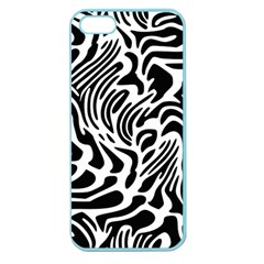 Psychedelic Zebra Black White Line Apple Seamless Iphone 5 Case (color) by Mariart