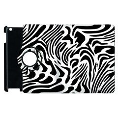 Psychedelic Zebra Black White Line Apple Ipad 3/4 Flip 360 Case by Mariart