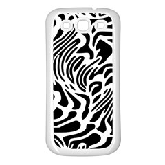 Psychedelic Zebra Black White Line Samsung Galaxy S3 Back Case (white) by Mariart