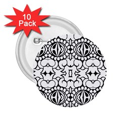 Psychedelic Pattern Flower Crown Black Flower 2 25  Buttons (10 Pack)