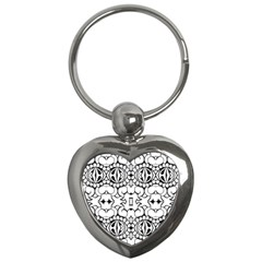 Psychedelic Pattern Flower Crown Black Flower Key Chains (heart)  by Mariart
