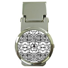 Psychedelic Pattern Flower Crown Black Flower Money Clip Watches by Mariart