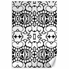 Psychedelic Pattern Flower Crown Black Flower Canvas 24  X 36