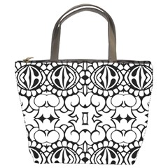 Psychedelic Pattern Flower Crown Black Flower Bucket Bags by Mariart