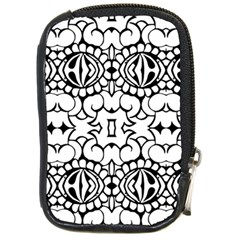 Psychedelic Pattern Flower Crown Black Flower Compact Camera Cases by Mariart
