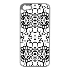 Psychedelic Pattern Flower Crown Black Flower Apple Iphone 5 Case (silver) by Mariart