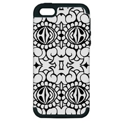 Psychedelic Pattern Flower Crown Black Flower Apple Iphone 5 Hardshell Case (pc+silicone) by Mariart