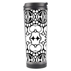 Psychedelic Pattern Flower Crown Black Flower Travel Tumbler