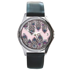 Peacock Feather Pattern Pink Love Heart Round Metal Watch by Mariart