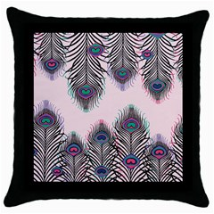 Peacock Feather Pattern Pink Love Heart Throw Pillow Case (black) by Mariart