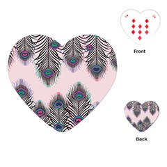 Peacock Feather Pattern Pink Love Heart Playing Cards (heart)
