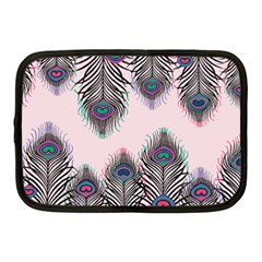 Peacock Feather Pattern Pink Love Heart Netbook Case (medium)  by Mariart