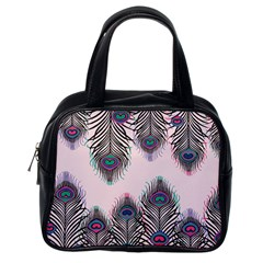 Peacock Feather Pattern Pink Love Heart Classic Handbags (one Side) by Mariart