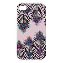 Peacock Feather Pattern Pink Love Heart Apple Iphone 4/4s Hardshell Case by Mariart