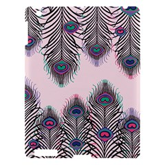 Peacock Feather Pattern Pink Love Heart Apple Ipad 3/4 Hardshell Case by Mariart