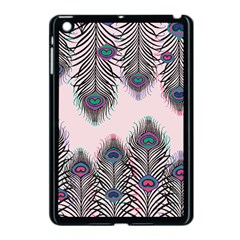 Peacock Feather Pattern Pink Love Heart Apple Ipad Mini Case (black) by Mariart