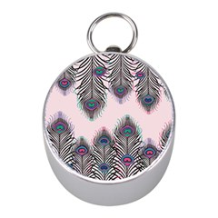 Peacock Feather Pattern Pink Love Heart Mini Silver Compasses by Mariart