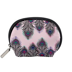 Peacock Feather Pattern Pink Love Heart Accessory Pouches (small)  by Mariart