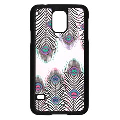 Peacock Feather Pattern Pink Love Heart Samsung Galaxy S5 Case (black) by Mariart