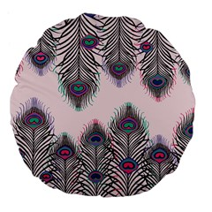 Peacock Feather Pattern Pink Love Heart Large 18  Premium Flano Round Cushions