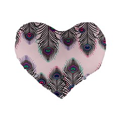 Peacock Feather Pattern Pink Love Heart Standard 16  Premium Flano Heart Shape Cushions by Mariart