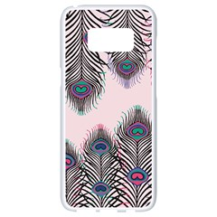 Peacock Feather Pattern Pink Love Heart Samsung Galaxy S8 White Seamless Case by Mariart