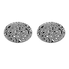 Psychedelic Zebra Black White Cufflinks (oval) by Mariart