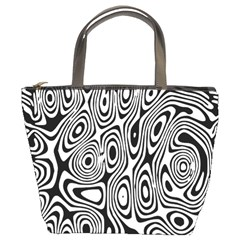Psychedelic Zebra Black White Bucket Bags by Mariart