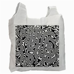 Psychedelic Zebra Black White Recycle Bag (one Side) by Mariart