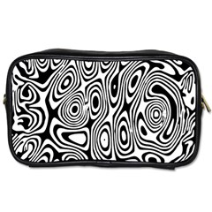 Psychedelic Zebra Black White Toiletries Bags
